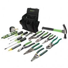 Greenlee 0159-12 Journeyman's Tool Kit, 17 pc