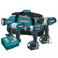 Makita LXT421 18V LXT Cordless 4 Pc. Combo Kit BDF452, BTW450, BTW253, BML185, bag