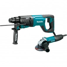 "Makita HR2641X1 1"" AVT Rotary Hammer, SDS-PLUS, w/ Case and 4-1/2"" Angle Grinder"