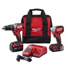 Milwaukee 2799-22CX M18 Compact Brushless Hammer Drill & Impact Combo Kit