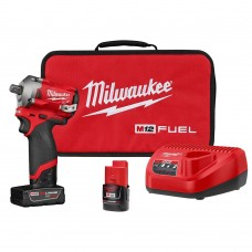 "Milwaukee 2555P-22 M12 FUEL Stubby 1/2"" Pin Impact Wrench Kit"