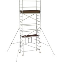 Metaltech 12ft. Easy-Set Aluminum Scaffold Tower with Guardrail and Outriggers — 800-Lb. Capacity, Model# AL-Q0106
