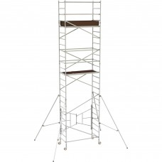 Metaltech 18ft. Easy-Set Aluminum Scaffold Tower with Guardrail and Outriggers — 800-Lb. Capacity, Model# AL-Q0106