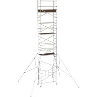 Metaltech 24ft. Easy-Set Aluminum Scaffold Tower with Guardrail and Outriggers — 800-Lb. Capacity, Model# AL-Q0108
